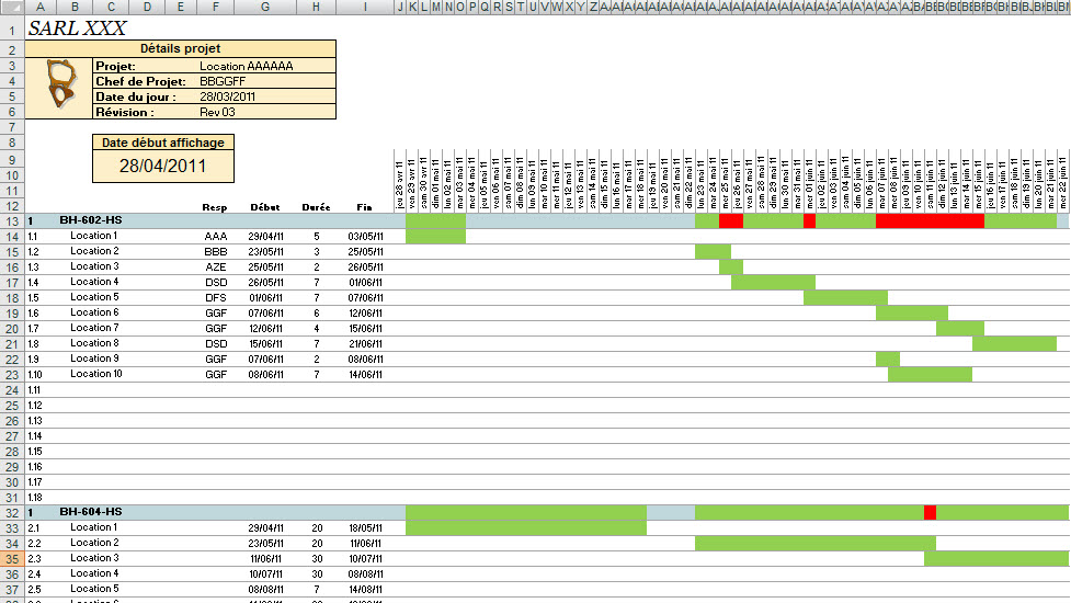 Diagramme de gantt sous excel project lead historique des versions ccuart Gallery